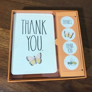 Rae Dunn 12 Thank You Card Set w/ Stickers
